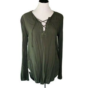 Cloth & Stone Blouse Olive Green Long Sleeve M